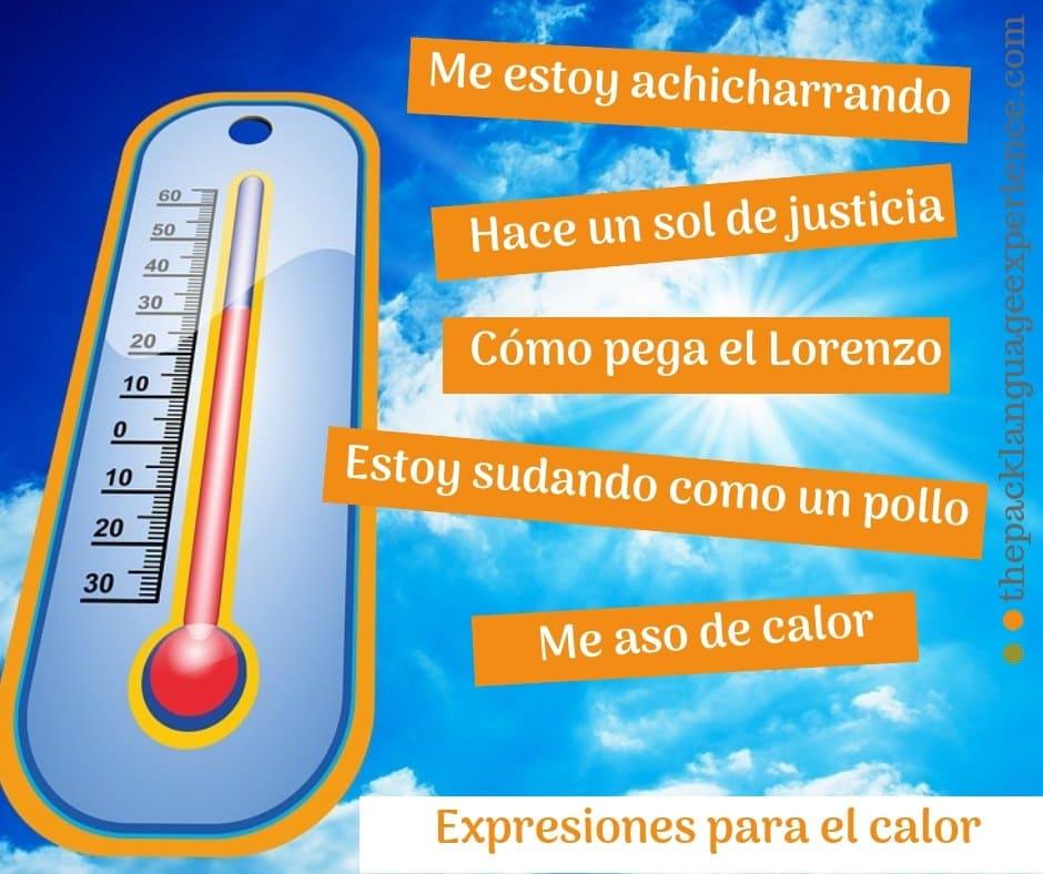 Expresiones en español para el calor